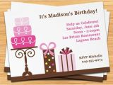 Inviting Friends for Birthday Party Pink Cake Girls Birthday Party Invitation