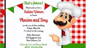 Italian themed Party Invitation Template Italian Party Invitation Printable or Printed with Free
