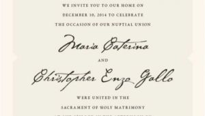 Italian Wedding Invitations Wording Italian Wedding Elopement Announcement Wording Private