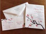 Japanese Cherry Blossom Wedding Invitations asian Wedding Invitations Cherry Blossoms Letterpress