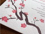 Japanese Cherry Blossom Wedding Invitations Cherry Blossom Wedding Invitations Letterpress Wedding