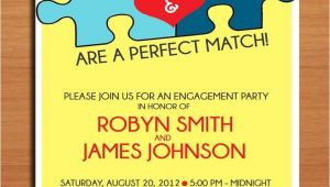 Jigsaw Puzzle Party Invitations Perfect Match Jigsaw Puzzle Engagement Party Customized