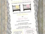Joint Baby Shower Invitation Wording Joint Baby Shower Invitation Crib and Blanket Surprise Girl