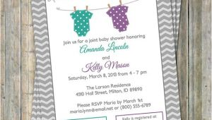 Joint Baby Shower Invites Joint Baby Shower Invitation Polka Dot Onesies Purple and