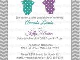Joint Baby Shower Invites Joint Baby Shower Invitation Polka Dot Onesies Purple