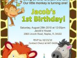 Jungle Birthday Invitation Template 1st Birthday Jungle Invitation