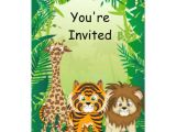 Jungle Birthday Invitation Template Free Jungle theme Birthday Invitations Zazzle Com