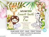 Jungle Book Birthday Invitation Template Zoo Birthday Invitation Template Safari Birthday