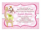 Jungle Jill Baby Shower Invitations Jungle Jill Girl Animals Baby Shower Invitation