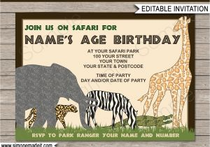 Jungle theme Party Invitation Templates Safari or Zoo Party Invitations Template Birthday Party