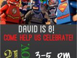 Justice League Birthday Invitations Printable Lego Dc Justice League Birthday Invitation Sample