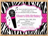 Karaoke Party Invitation Template Karaoke Party Invitation Girl Karaoka Birthday Rockstar Party