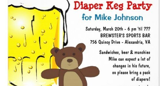 Keg Party Invitations Personalized Diaper Keg Party Invitations