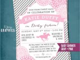 Kentucky Derby Baby Shower Invitations Kentucky Derby Baby Shower Invitation Stripes and Mums Any