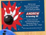Kids Bowling Birthday Party Invitations Kids Red and Blue Bowling Birthday Party Invitation