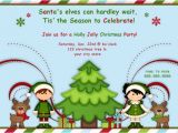 Kids Holiday Party Invitation Elf Christmas Party Invitations or Birthday Invitations
