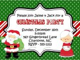 Kids Holiday Party Invitation Santa and Mrs Claus Kids Christmas Holiday Party