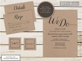Kraft Paper Wedding Invitation Kit Printable Kraft Wedding Invitation Kit Rustic Wedding