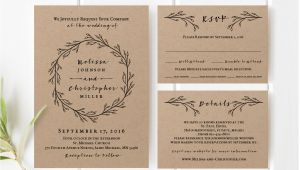 Kraft Wedding Invitation Template Printable Wedding Invitation Template Set Kraft Wedding