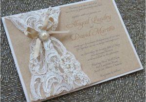 Lace and Pearls Bridal Shower Invitations Abigail Lace & Burlap Wedding Invitation Customizable