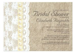 Lace and Pearls Bridal Shower Invitations Antique Lace and Pearls Bridal Shower Invitations