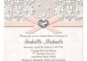 Lace and Pearls Bridal Shower Invitations Pink Pearl Lace Diamond Bridal Shower Invitations 5 25