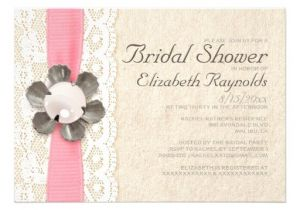 """Lace and Pearls Bridal Shower Invitations Rustic Lace and Pearls Bridal Shower Invitations 5"""" X 7"""