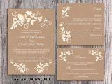 Lace Wedding Invitation Template Diy Lace Wedding Invitation Template Set Editable Word