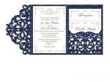 Lace Wedding Invitation Template Wedding Invitation Set Of Tri Fold Lace Pocket Envelope