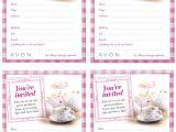 Ladies Tea Party Invitations Avon Tea Party theme