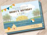 Lake Party Invitations Lake Beach Birthday Party Invitation Lake Fun In the Sun