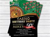 Las Vegas themed Birthday Party Invitations Casino 50th Birthday Invitation Adult Man Birthday Surprise