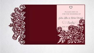 Laser Cut Wedding Invitation Template Tri Fold Wedding Invitation Svg Dxf Laser Cut Template
