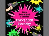 Laser Tag Party Invitations Free Laser Tag Girl Birthday Invitation Printable or Printed with
