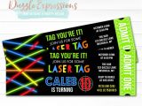 Laser Tag Party Invites Free Printable Glow Laser Tag Ticket Birthday Invitation Kids