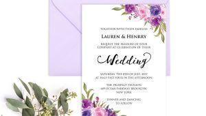 Lavender Wedding Invitation Blank Template Lavender Invitation Template Purple Lilac Watercolor Flowers