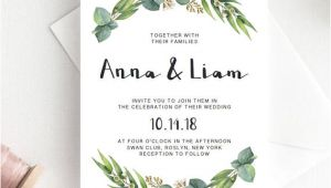 Leaves Wedding Invitation Template Green Wedding Invitation Template Download Green Leaf Wedding