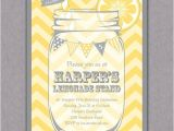Lemonade Birthday Party Invitations Lemonade Stand Party Invitation Yellow Chevrons Mason Jar