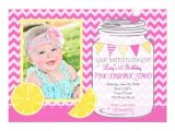 Lemonade Birthday Party Invitations Pink Lemonade Stand First Birthday Invitation