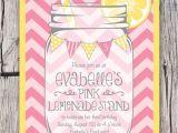 Lemonade Stand Birthday Party Invitations Mason Jar and Chevrons Invitation Printable Pink