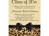Leopard Graduation Invitations Leopard Print with Bow Graduation Party Invitation Zazzle