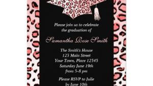 Leopard Graduation Invitations Pink Leopard Print Graduation Party Custom Announcements