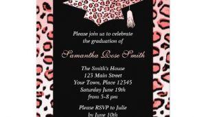Leopard Graduation Invitations Pink Leopard Print Graduation Party Custom Announcements