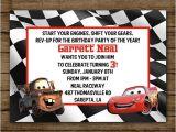 Lightning Mcqueen and Mater Birthday Invitations Customized Birthday Invitation Disney Cars Lightening