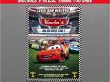 Lightning Mcqueen Birthday Party Invitations Free Disney Cars Lightning Mcqueen Birthday Invitation with Free