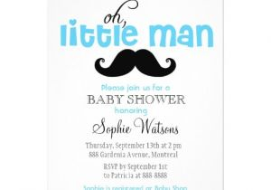 Lil Man Baby Shower Invitations Blue Little Man Mustache Baby Shower Invitation