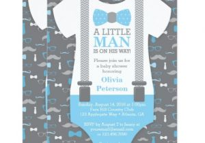 Lil Man Baby Shower Invitations Little Man Baby Shower Invitation Baby Blue Gray Card