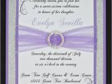 Lilac and Silver Wedding Invitations Lilac and Silver Glitter Quinceanera or Wedding by Invitebling