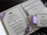 Lilac and Silver Wedding Invitations Opulence Pocket Wedding Invitation In Lilac and Silver