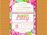 Lilly Pulitzer Birthday Invitations Lilly Pulitzer Inspired Invitation Baby Shower Baby